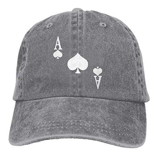 Unisex Baseball Cap Denim Fabric Hat Ace of Spades Poker Adjustable Snapback  Glacier Cap 4441afab70e