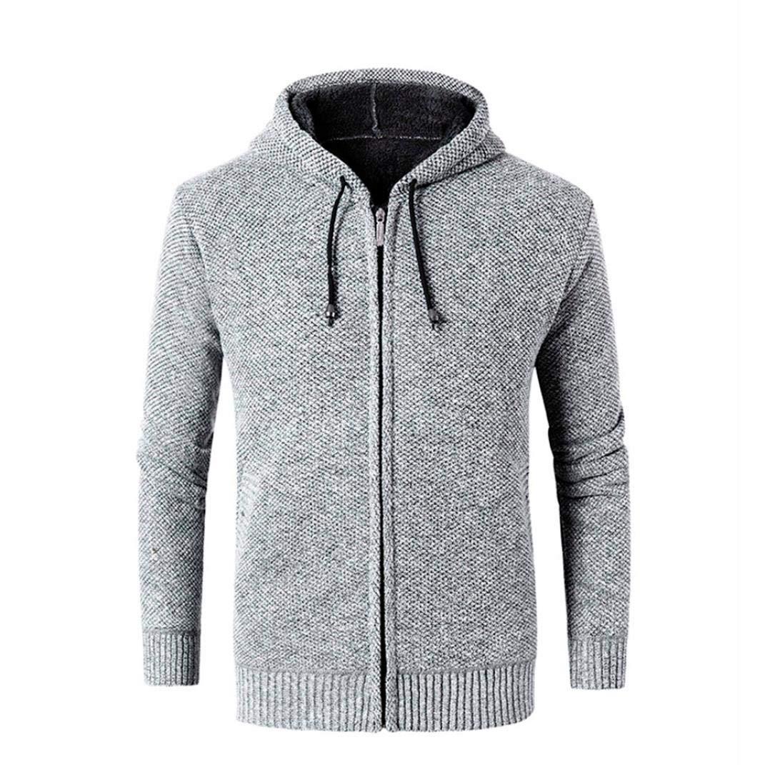 Corriee Men Hoodies Mens Casual Autumn Winter Zipper Fleece Hooded Outwear Sweater Fashion Solid Fit Sport Blouse Coat