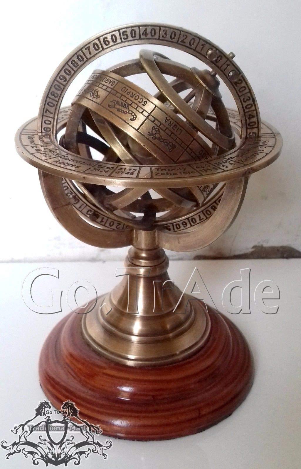 Shaheera Nautical 5'' Engraved Brass Tabletop Armillary Nautical Sphere Globe Gift