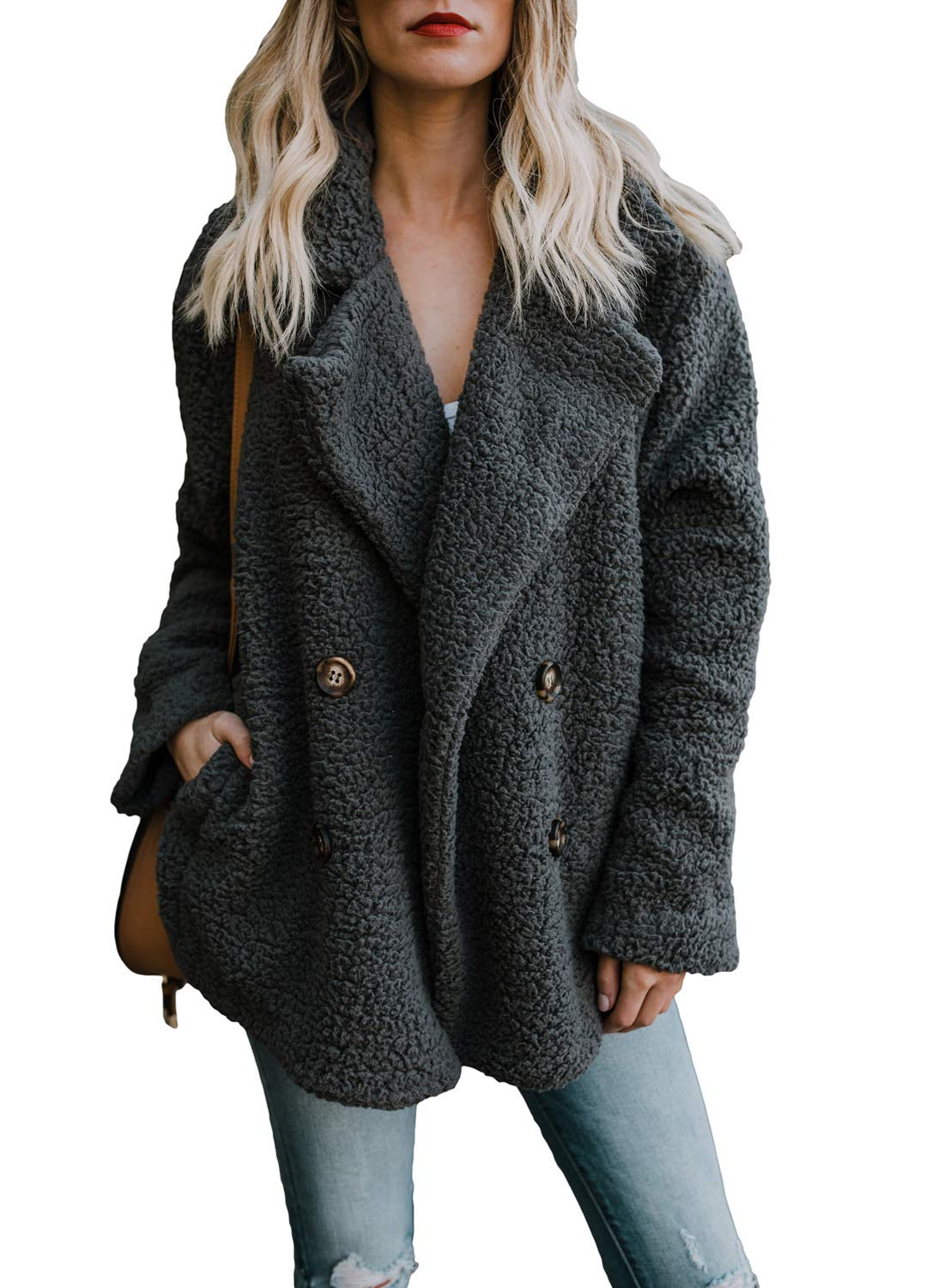 Dokotoo Womens Ladies Winter Cozy Warm Casual Oversized Fleece Open Front Fuzzy Coat with Pockets Fluffy Outerwear Jacket Black Medium
