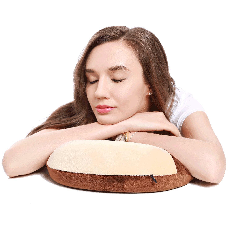 Mousse Oreiller Cou avec Haut-Parleurs sans Fil Bluetooth Et Micro pour Le Bruit Blanc Sound Therapy Et Soundspa Bonne Id/ée pour Les Voyage Oreiller De Voyage Khaki + Brown
