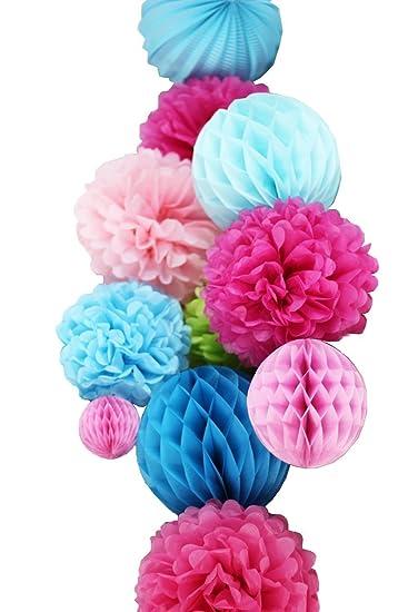 Sunbeauty Set 11 Fuchsia Pink Blau Papier Dekoration Laternen