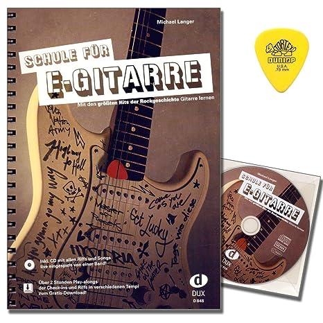 Guitarra eléctrica de Michael Langer con CD, descarga gratuita y original Dunlop Plek, con