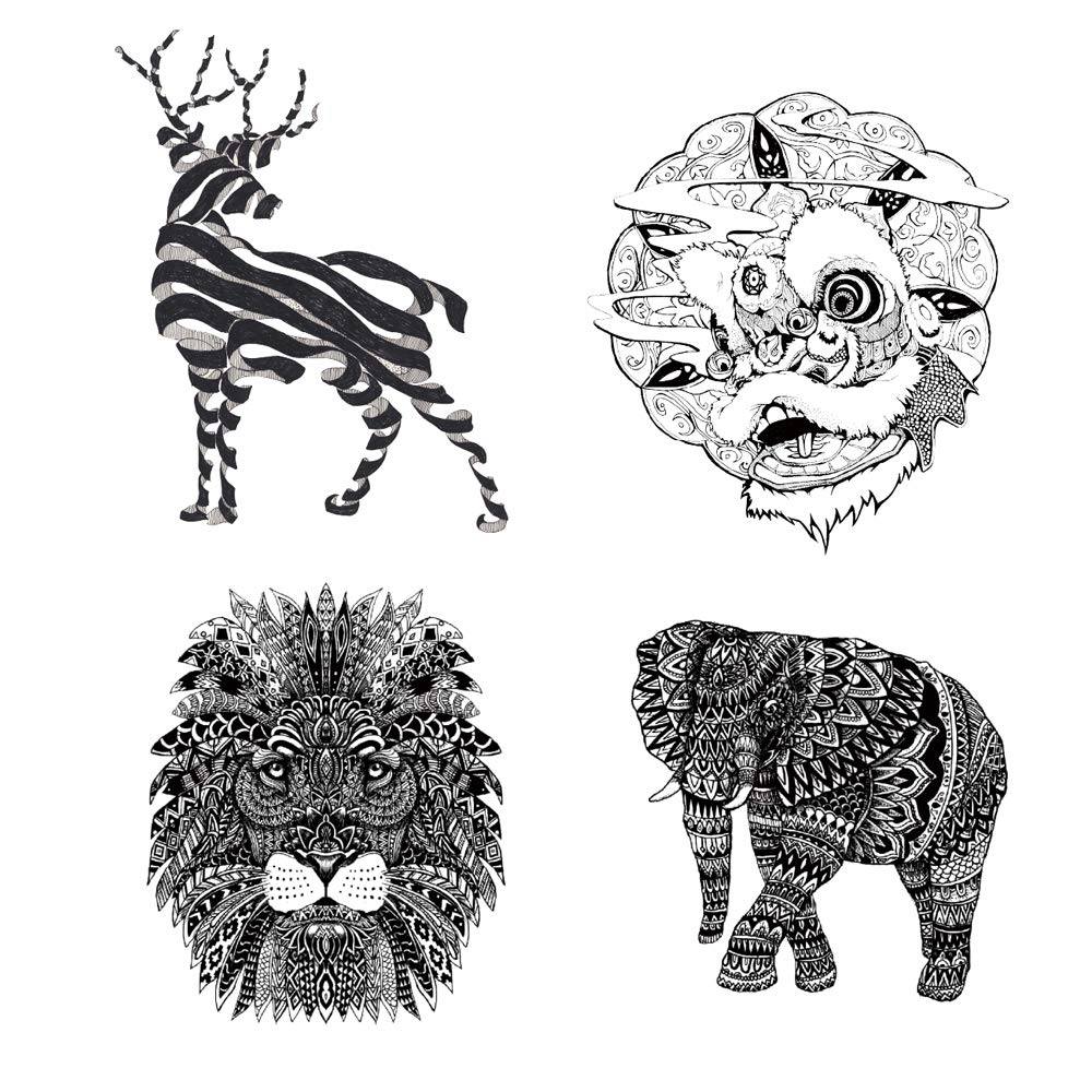 4 Original Design Temporary Tattoos by Inktells-Updated 2020-Lion,Elephant,Deer Amimal Tattoos for Women and Men Fake Tattoos for for neck,back,hand and forearm (2 sheets)