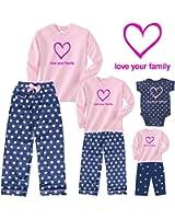 Sweet Snuggles Pink Heart Mother Daughter Matching Polka Dot Pajamas; Girls Playwear