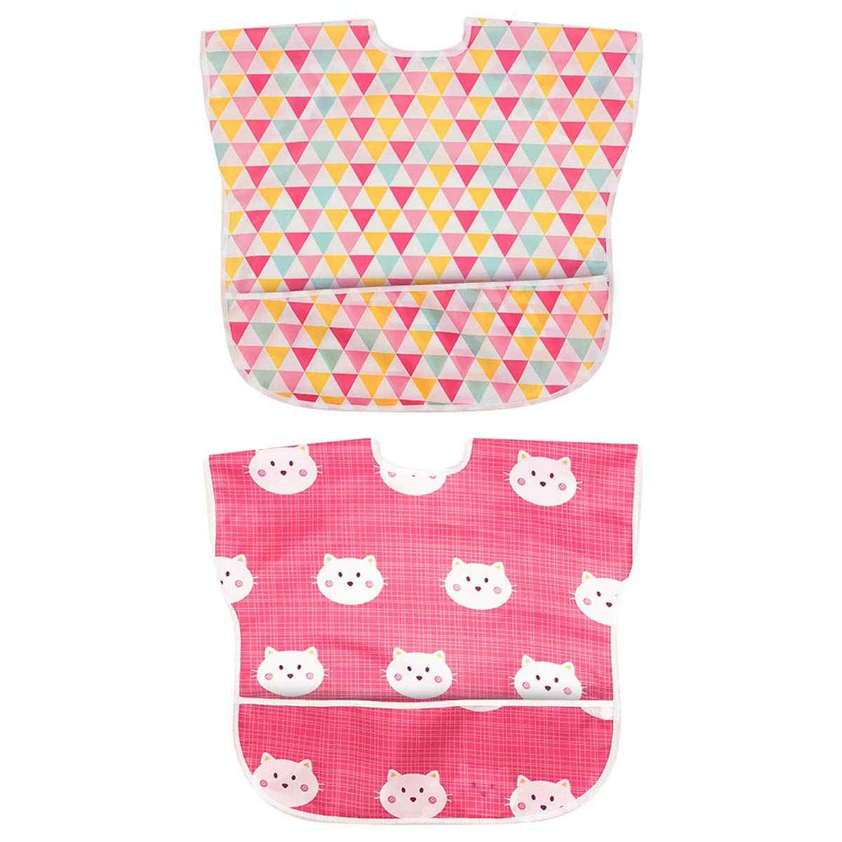 6-24 Months Long Sleeved Bib Waterproof Bibs for Babies and Toddlers with Pocket Pack of 2 by Little Dimsum