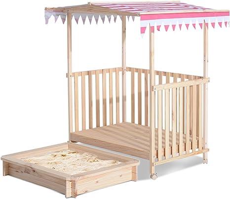 HOMCOM - Sandbox para niños (resistente a los rayos UV, madera de ...