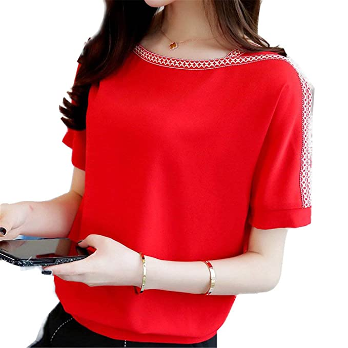 OUXIANGJU Women New Summer Chiffon Shirts Batwing Sleeve Tops Casual Embroidery Plus Size Blouses