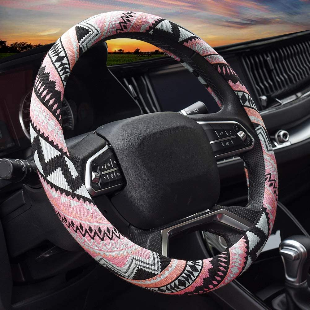 Valleycomfy Boho Universal 15 inch Steering Wheel Covers with Cloth for Women: Automotive