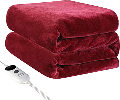 Deckey Electric Heated Blanket Throw 50 x 60 ,Heating Blanket Throw Electric,Fast Heating Blanket,3 Heat Setting