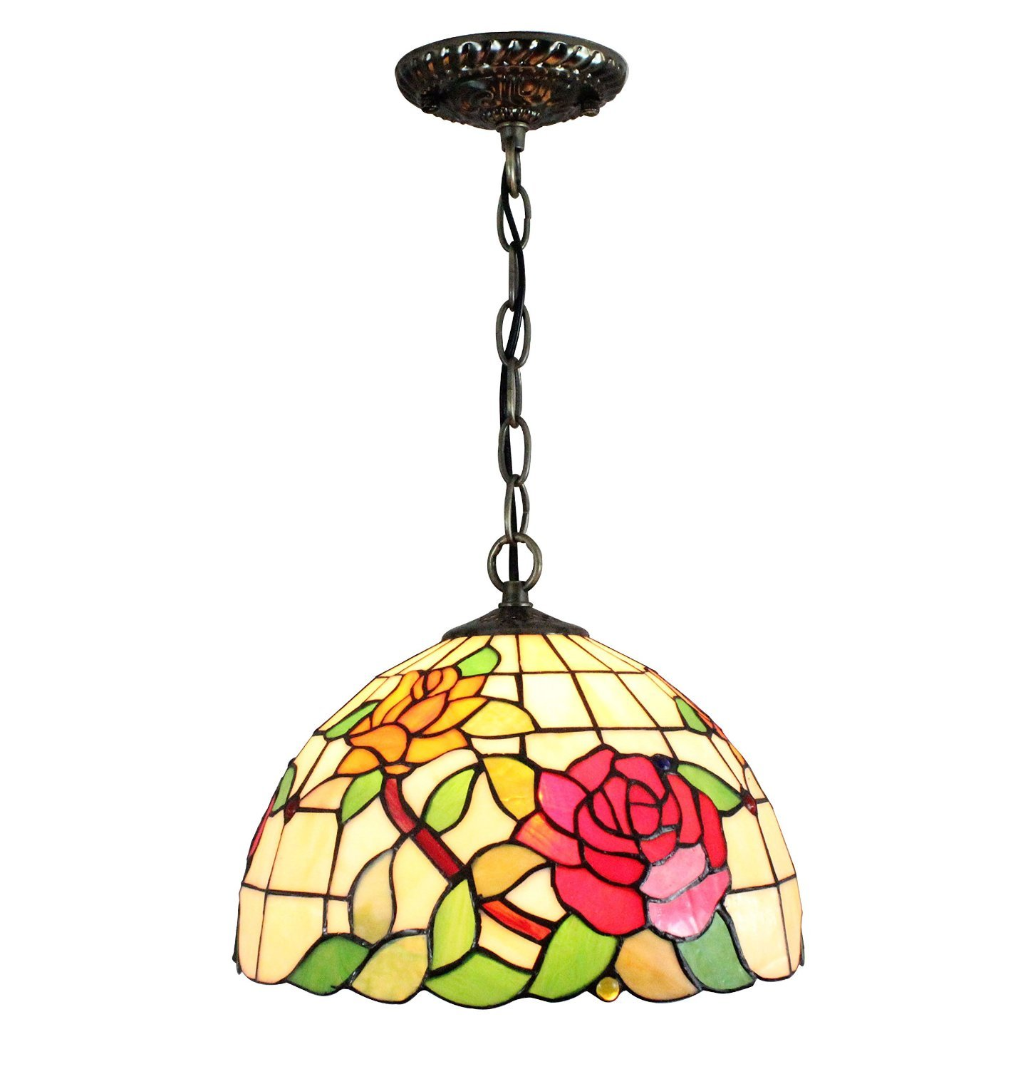 Carl Artbay DDM-D3 Tiffany Style Rose Pattern Stained Lamp Shade Hanging Pendant, 12 Inch, 1-Lights, Multi-Colour