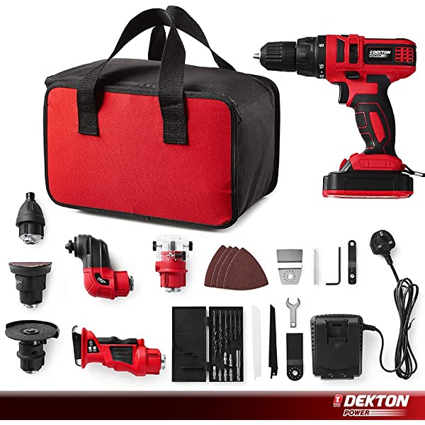 Screwdriver Set Complete with 13pc Drill and Bits,1500 LI-ION Battery,Led Light with Built in Spirt Level Dekton Power 610010 18V Cordless Driver