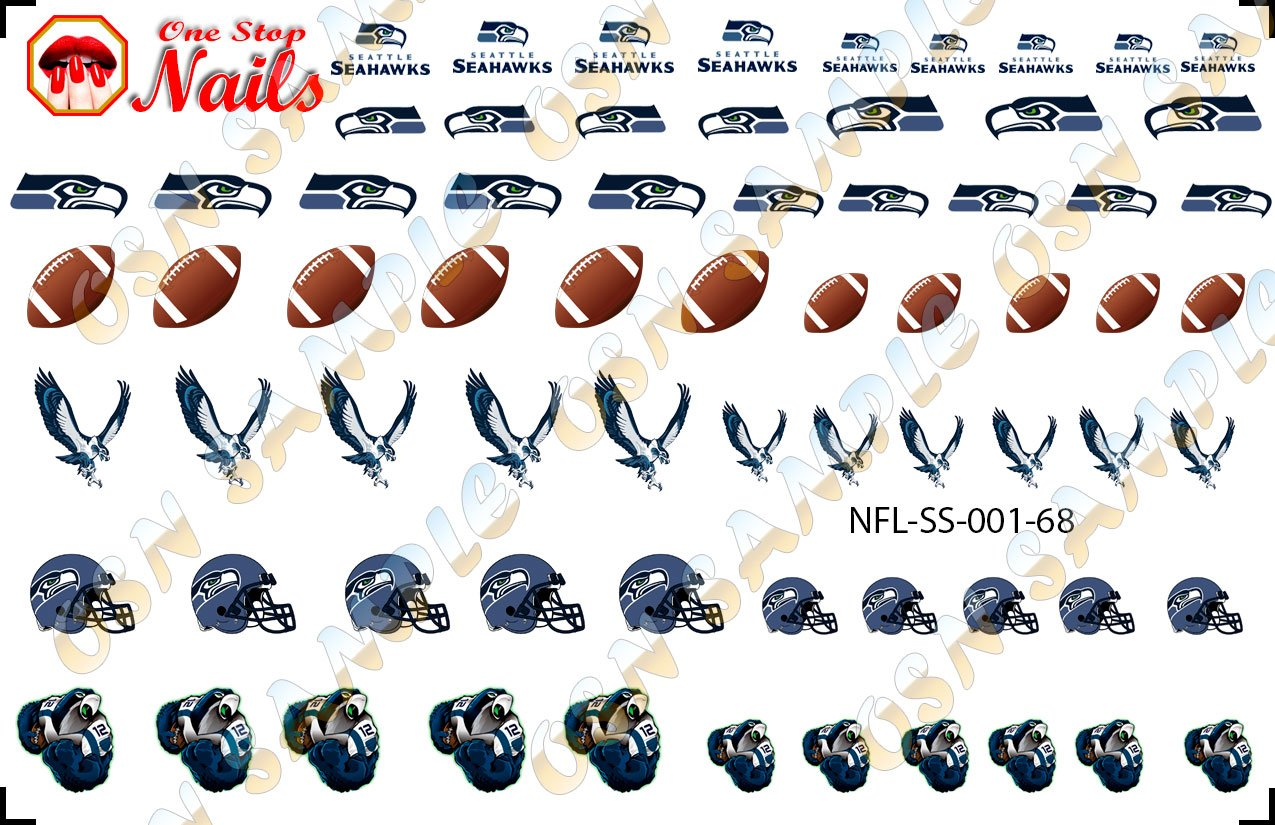 Amazon.com: Seattle Seahawks Waterslide nail decals (Tattoos) V1 ...