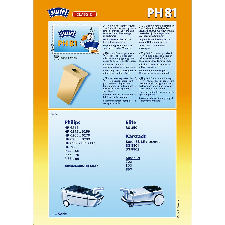 Swirl PH 81 - Bolsas de papel para aspiradora: Amazon.es: Hogar