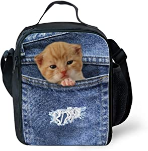 UNICEU Lunch Box Insulated Tote Bag Food Lunchbox for Kids Cute Pet Gold Cat Print Blue Denim