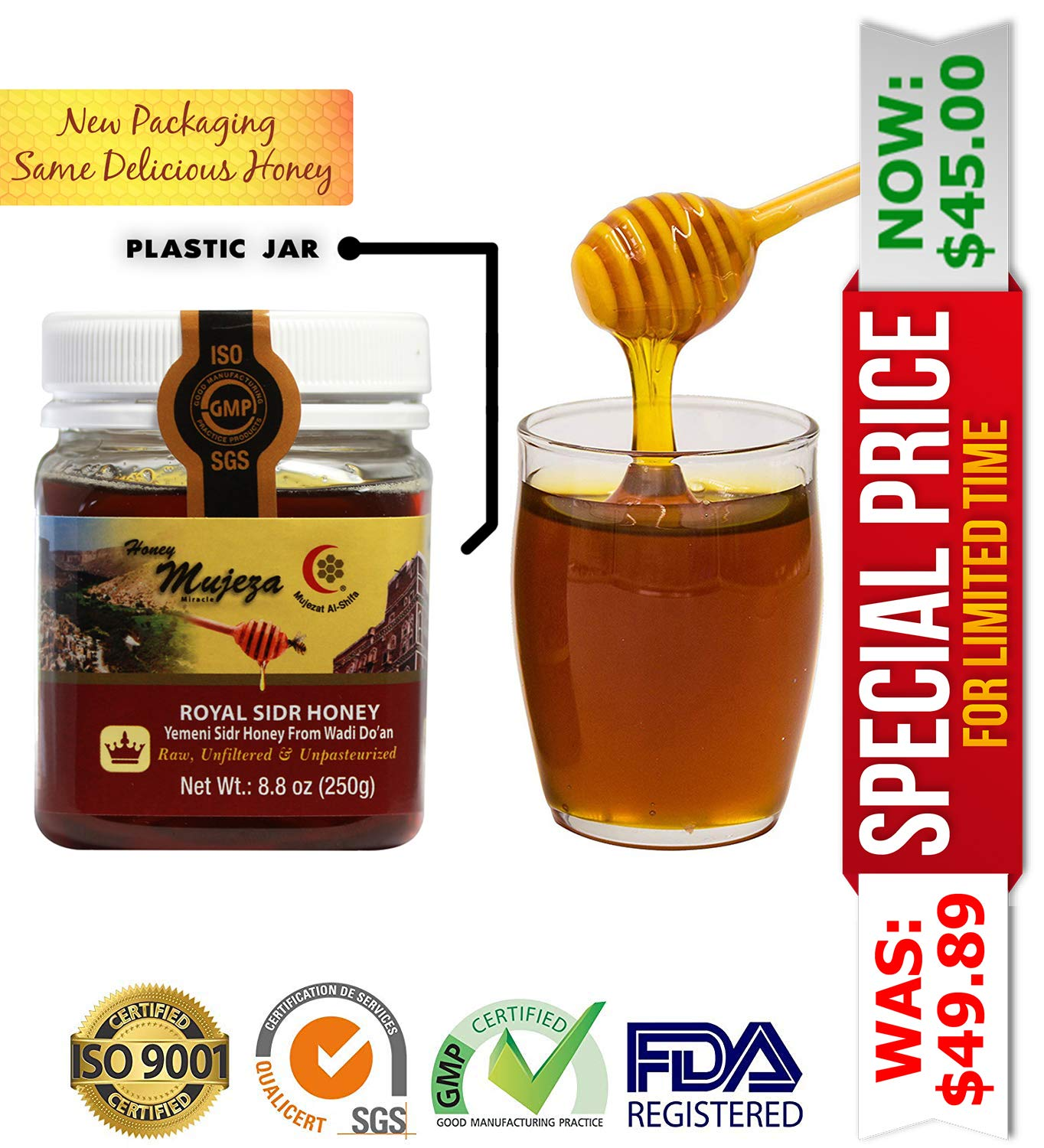 Royal Honey (Authentic Yemen Douani Sidr Honey) Save $5 When You Purcahse Bigger Size, 100% Natural Raw Honey (250g / 8.8oz) عسل السدر الجبلي - عسل المعجزة - عسل يمني أصلي - عسل نحل طبيعي