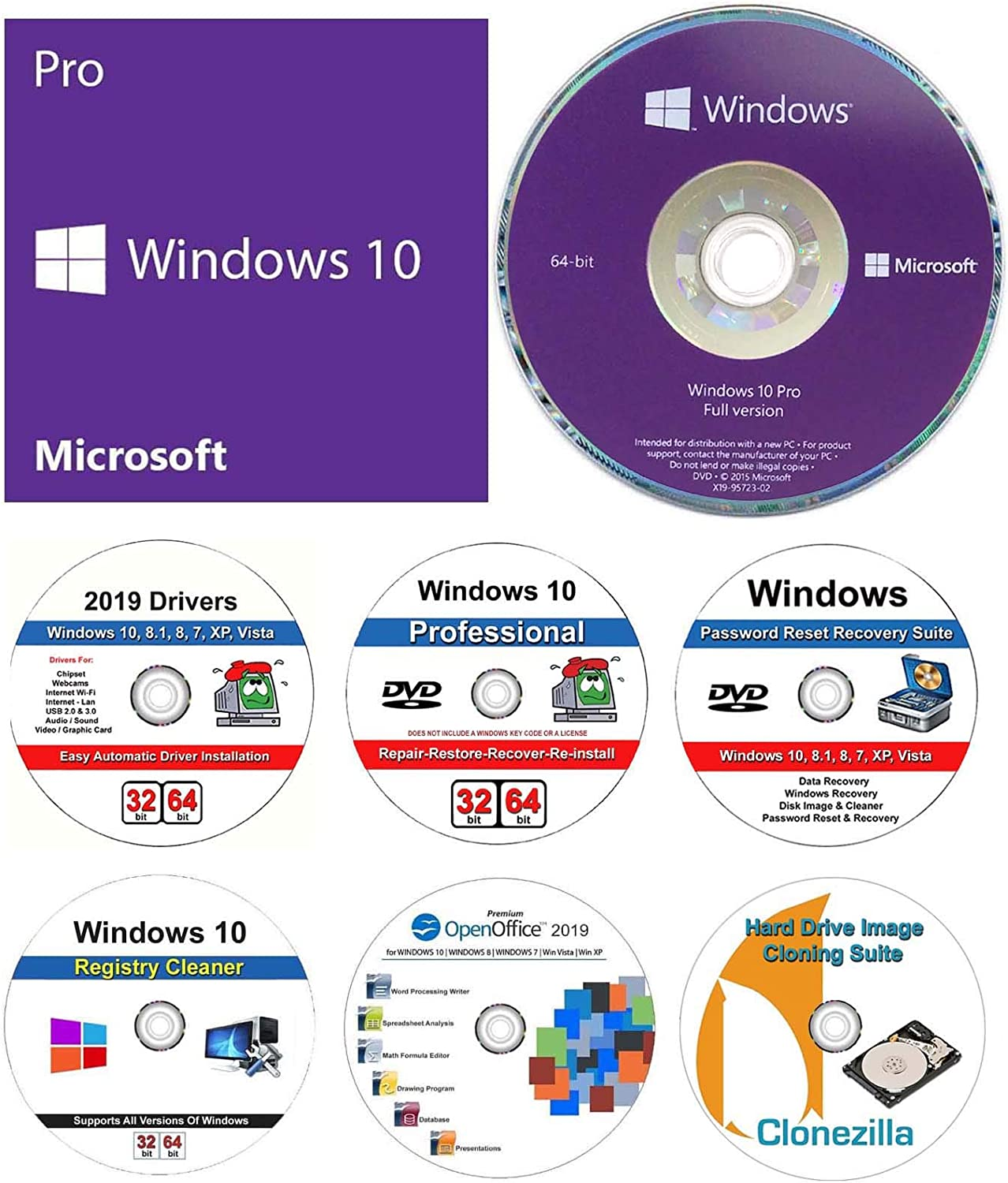 Windows 10 Professional 64 bit OEM DVD + Windows 10 repair recover restore DVD + 2019 Drivers + Password Recovery + Registry Cleaner + Open Office 2019 and Clonzilla Cloning Suite. 7 in 1 Bundle
