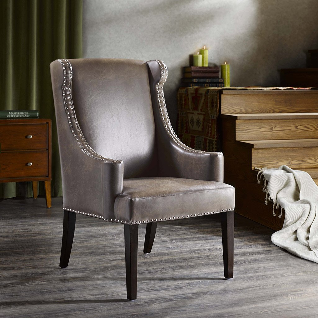 Amazon.com: Madison Park Marcel High Back Wing Chair Taupe See Below:  Kitchen U0026 Dining