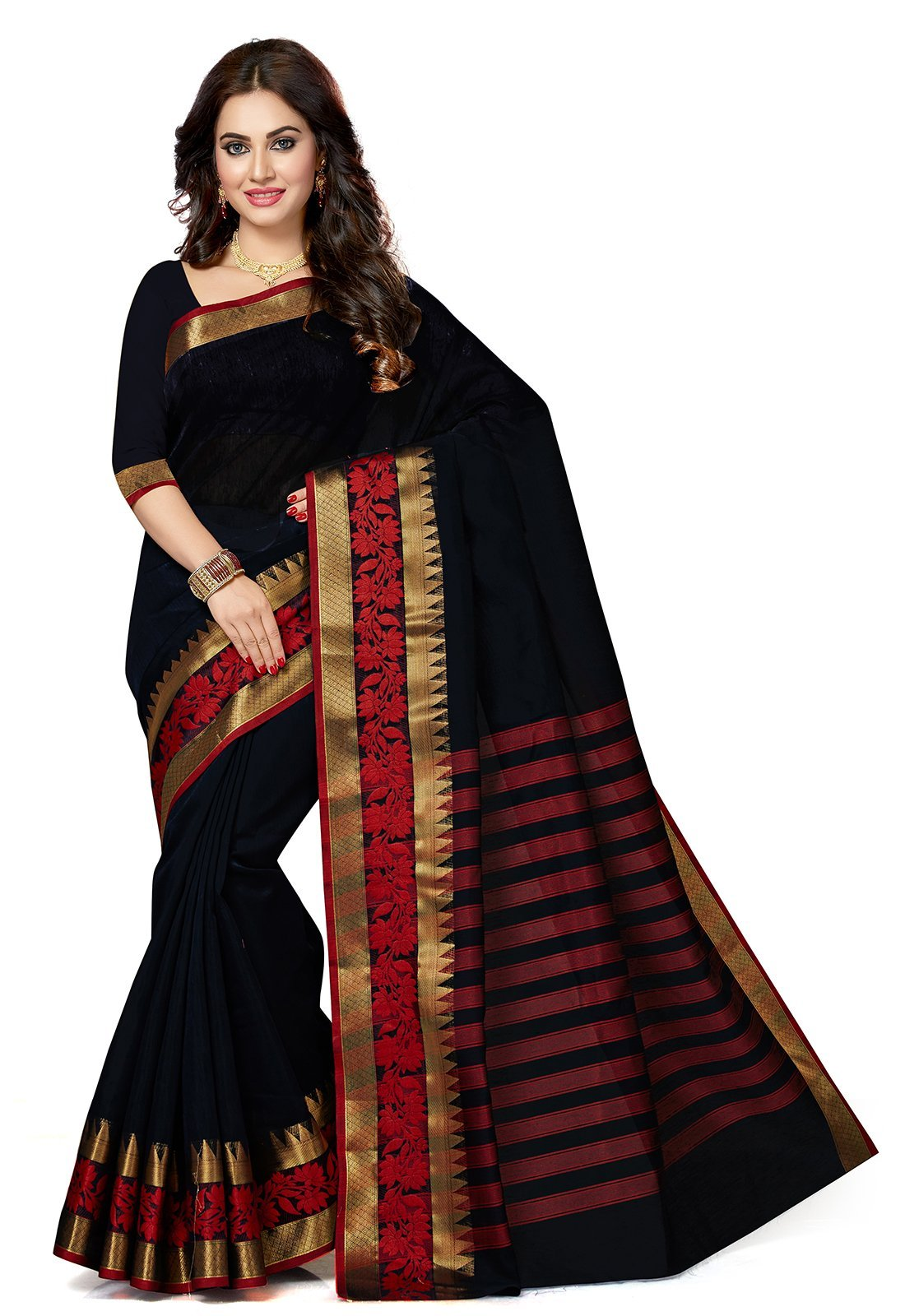 ishin Women's Chanderi Cotton Navy Blue Solid Party Wear Wedding Wear Casual Wear Festive Wear Bollywood New Collection With Golden Zari Border Latest Design Trendy Saree/Sari Free Size Navy blue