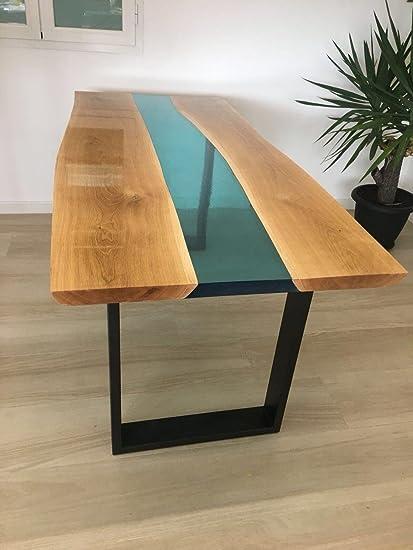 Tavoli Da Pranzo Grandi.Tavolo Da Pranzo In Legno E Resina Epossidica Atossica Di Design