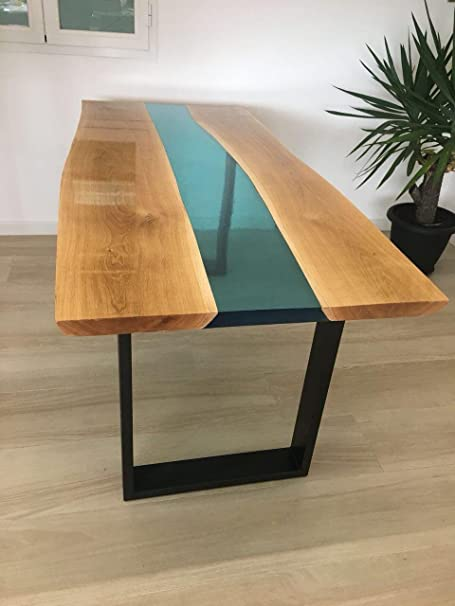 Dining Table Made Of Wood And Non Toxic Epoxy Resin Unique Design