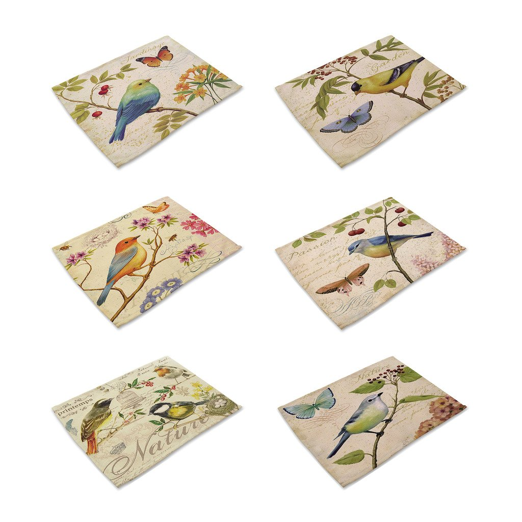 (Bird) - HACASO Set of 6 Vintage Style The Painting Bird Pattern Dining Table Mats Cotton Linen Placemats  鳥 B075WTX7HZ