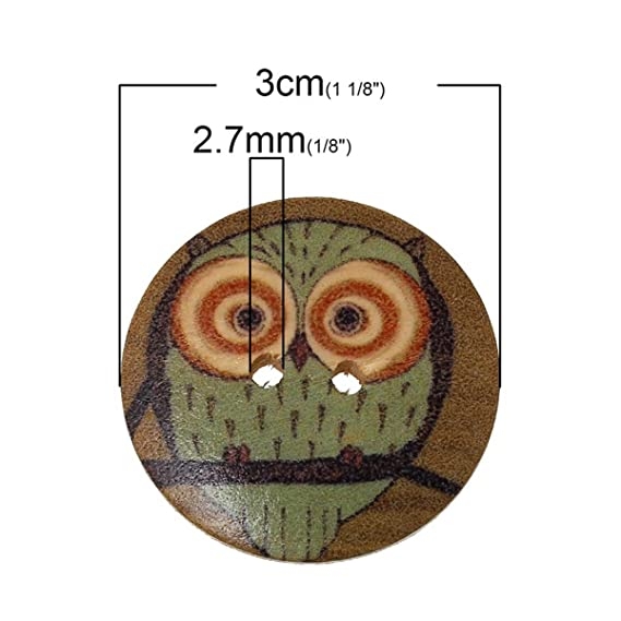 10 20 Holzknöpfe Knopf Holz Knöpfe Owl Eulen 25mm 2,5cm NEU 5