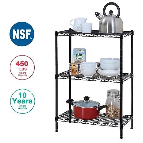 BestOffice 3 Wire Shelving Unit Garage NSF Wire Shelf Metal Large Storage  Shelves Heavy Duty Height Adjustable Commercial Grade Steel Layer Shelf  Rack ...