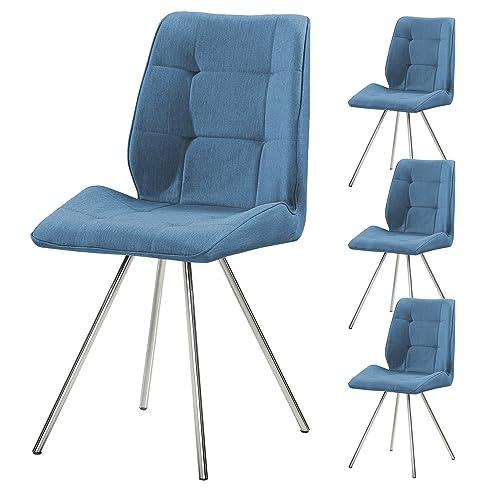 4er set svita esszimmer stuhl stoffbezug wohnzimmerstuhl retro design gepolstert farbwahl blau - Farbwahl Esszimmer