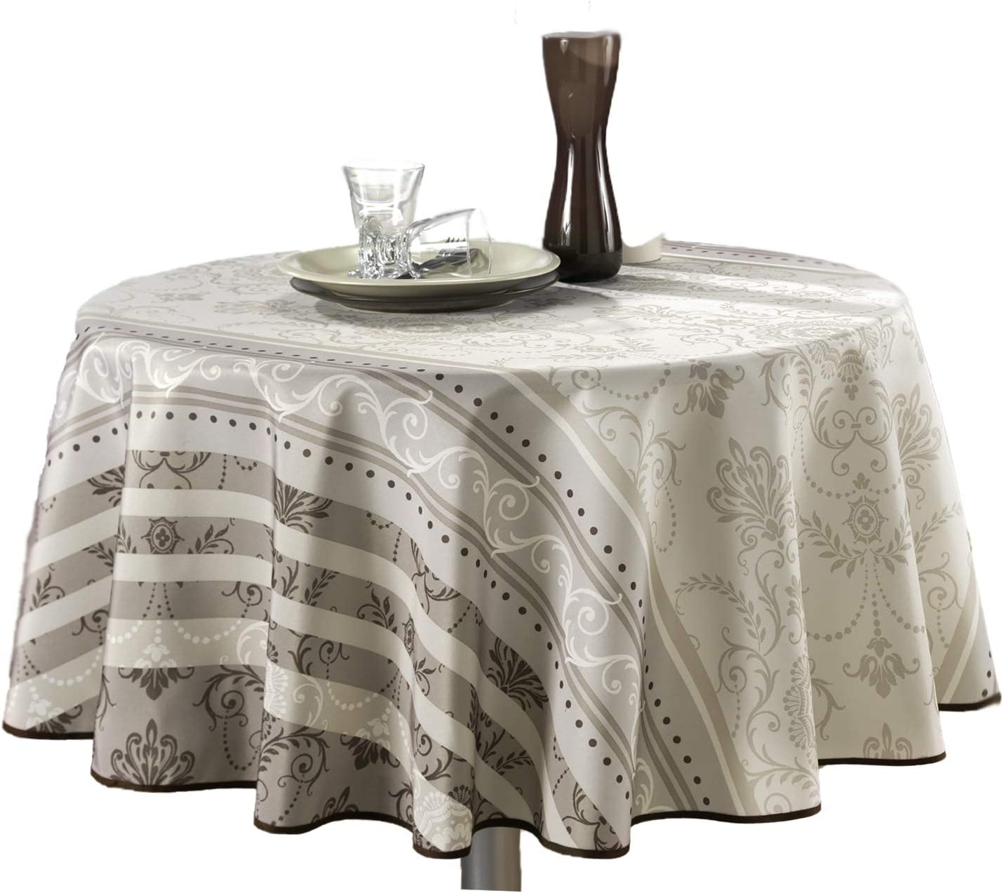 63-Inch Round Tablecloth Ivory White Brown Floral Baroque, Stain Resistant, Washable, Liquid Spills bead up, Seats 4 to 6 People (Other Size: 60x80-Inch, 60x95-Inch, 60x120-Inch)