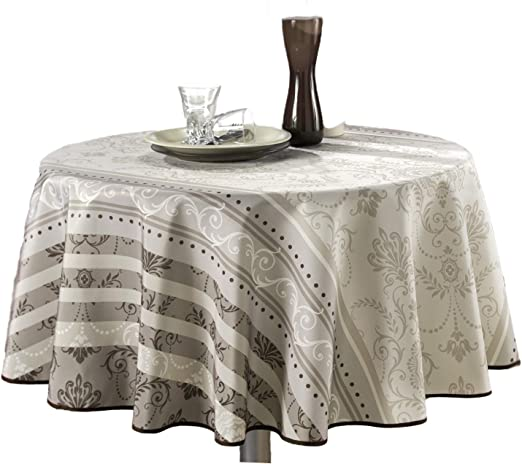60 x 138-Inch Ivory /& Brown My Jolie Home Ivory White Brown Baroque Rectangular Stain Resistant Tablecloth