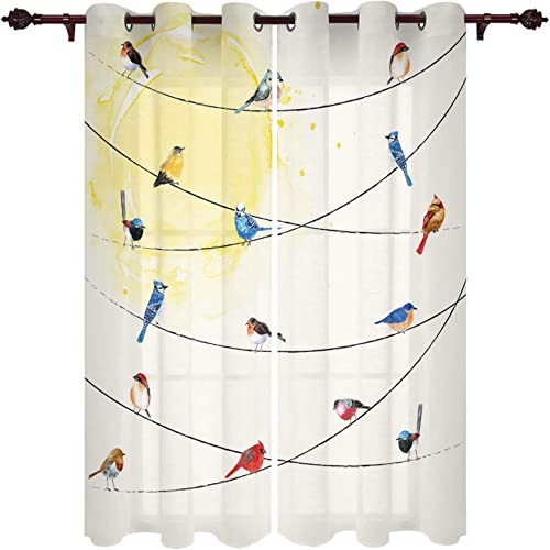 Fandim Fly Grommet Window Curtain Various Type of Birds Sitting and Chirping on Wires Window Curtains Draperie