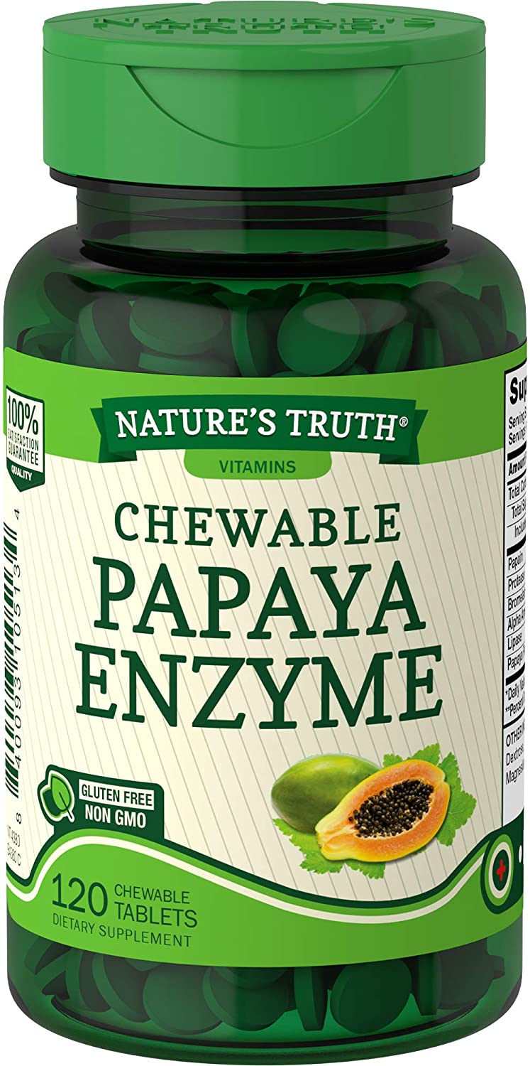 Nature's Truth Chewable Papaya Enzyme 120 Tablets