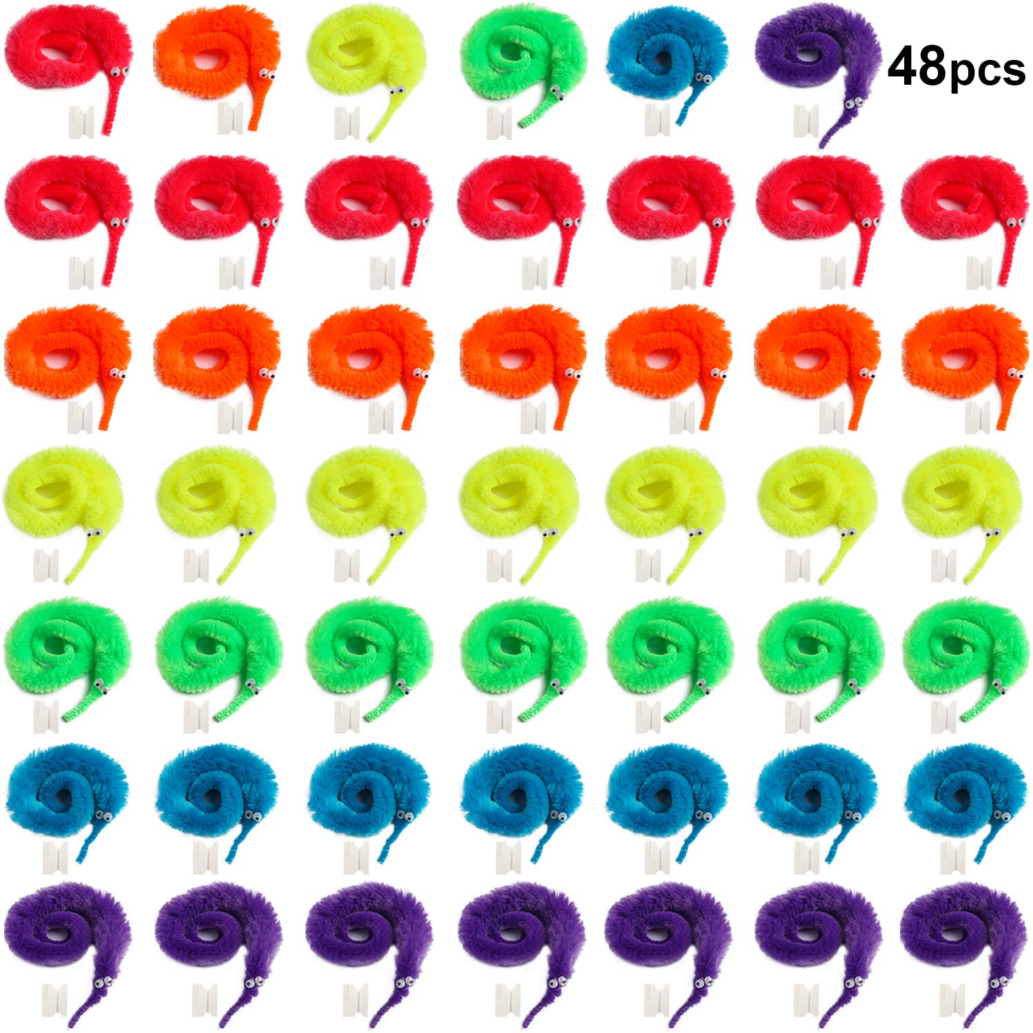 Tanlee 48 Pieces Magic Magic Wiggly Twisty Fuzzy Worm Magic Worm Toys for Party Supplies, Random Color (48 Pieces) by Tanlee