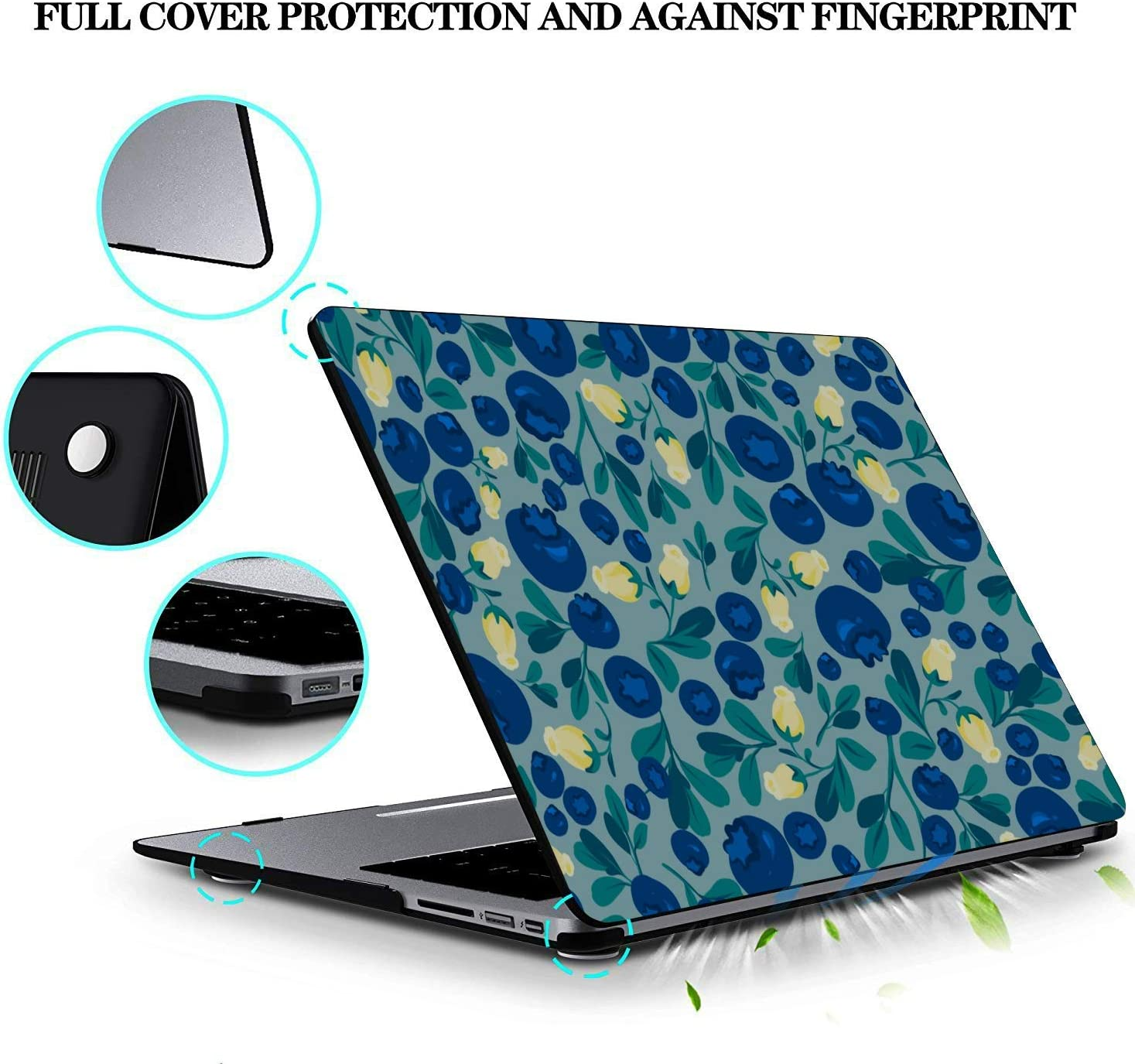 Mac Pro Cover Summer Sweet Sour Fruit Blueberry Plastic Hard Shell Compatible Mac Air 11 Pro 13 15 MacBook Air Shell Protection for MacBook 2016-2019 Version