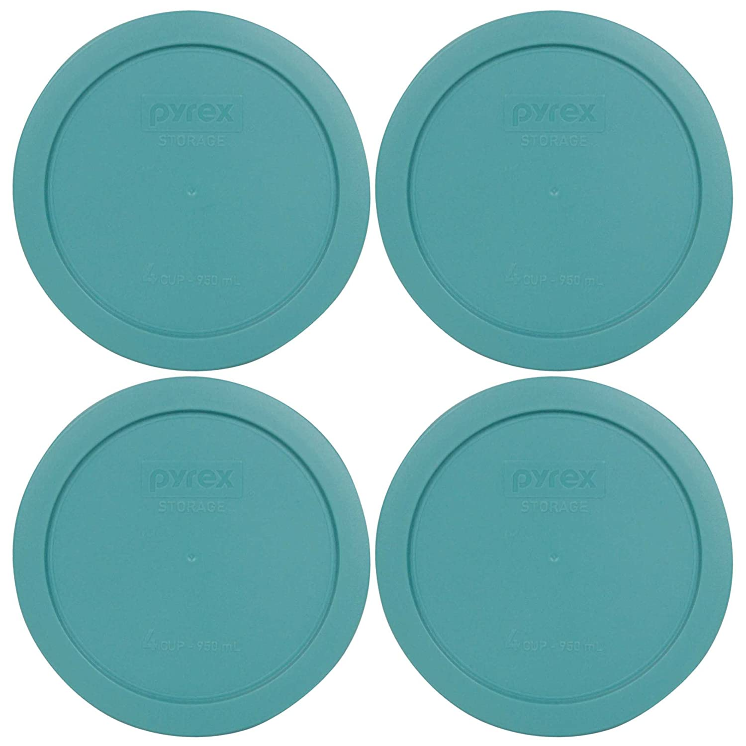 Pyrex 7201-PC Round 4 Cup Storage Lid for Glass Bowls (4, Turquoise)