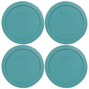 Pyrex 7201-PC 4 Cup Turquoise Round Plastic Lid - 4 Pack