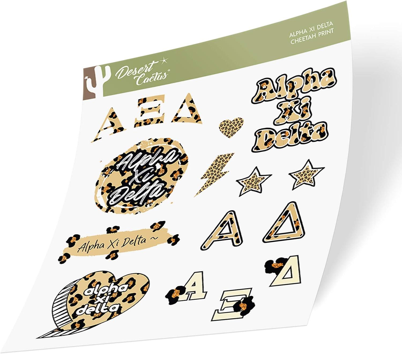 Alpha Xi Delta Sticker Decal Laptop Water Bottle Car (Cheetah Print Sheet)