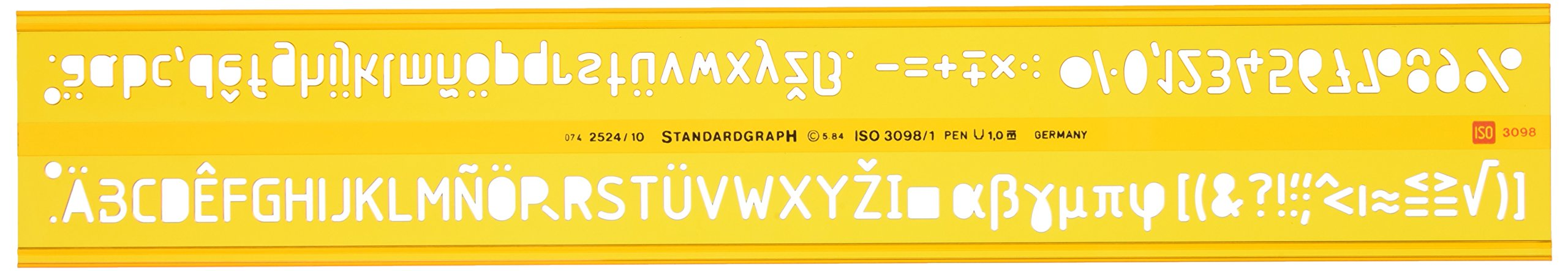 Graphoplex GXST2524/10 Iso Letter Stencil 10 mm Orange Crystal Clear