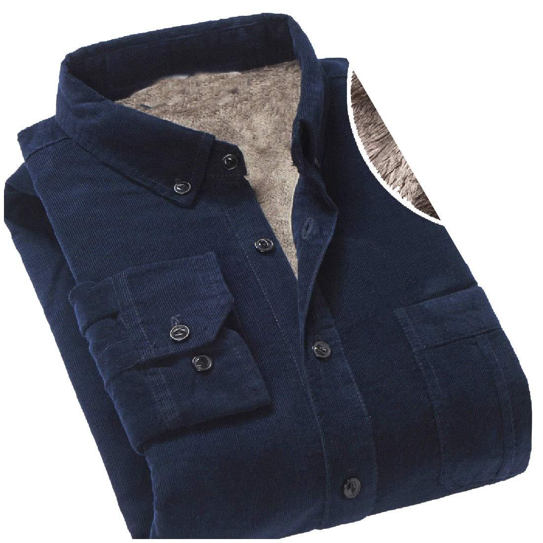 YUNY Mens Long-Sleeve Corduroy Button Turn-Down Collar Winter Work Shirt AS1 S