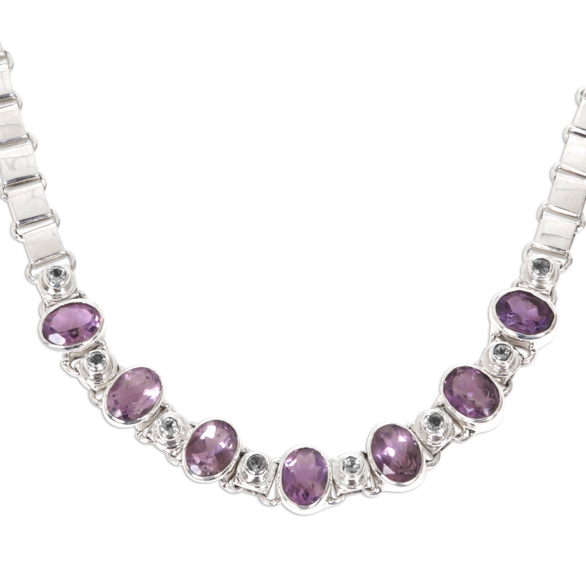 NOVICA Multi-Gem Amethyst .925 Sterling Silver Pendant Necklace, 15.25'' 'Exuberance'