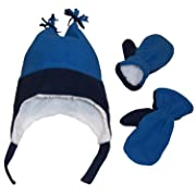 N'Ice Caps Boys Sherpa Lined Micro Fleece Four Corner Ski Hat and Mitten Set (2-3yrs, Navy/Royal)