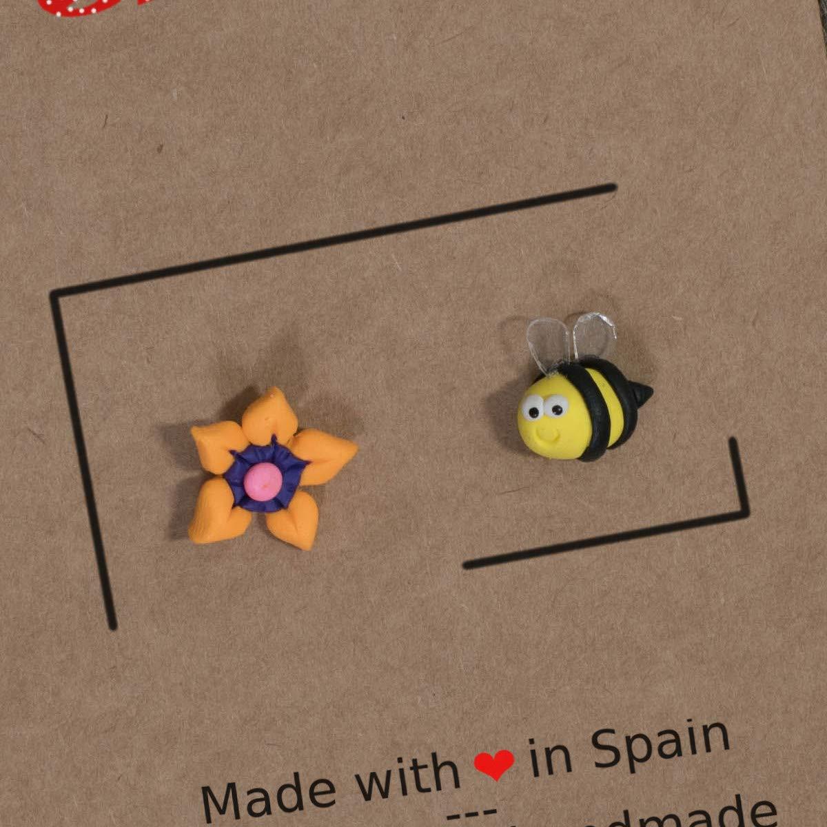 Pendientes flor y abeja hechos a mano 100% únicos: Amazon.es: Handmade