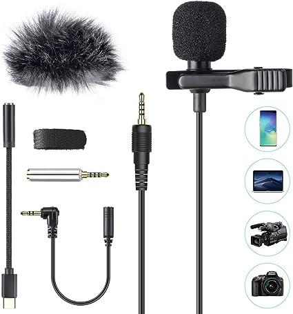 AGPTEK Micrófono de Solapa con Parabrisas, Z02C Lavalier Micrófono Omnidireccional con 3 Adaptadores, 2M Cable para Smartphones, PC, Videocámaras, Negro: Amazon.es: Instrumentos musicales