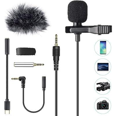 Micrófono de Solapa con Parabrisas, AGPTEK Z02C Lavalier Micrófono Omnidireccional con 3 Adaptadores, 2M Cable para Smartphones, PC, Videocámaras, Negro