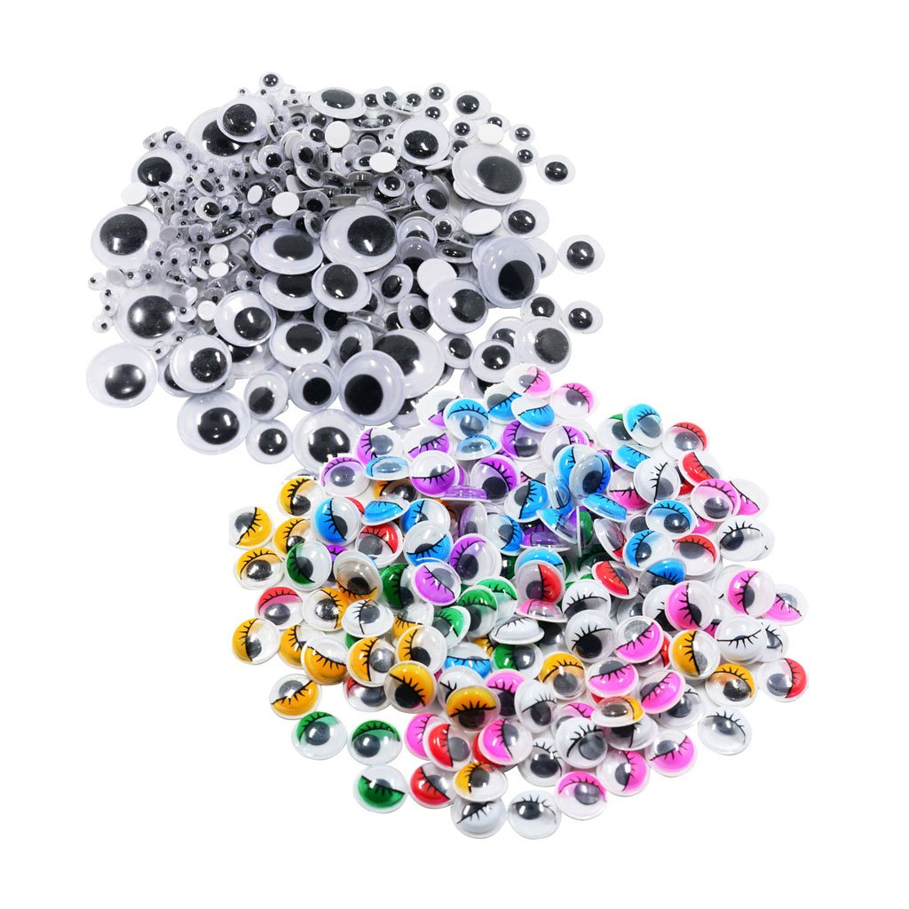HotDiyCraft Giant Wiggle Googly Sticky Eyes Patch 1 Box/Lot ( Approx 1120 Pcs ) 4 - 25 mm Round Oval Assorted Self Adhesive Wiggly Googlie Stickies