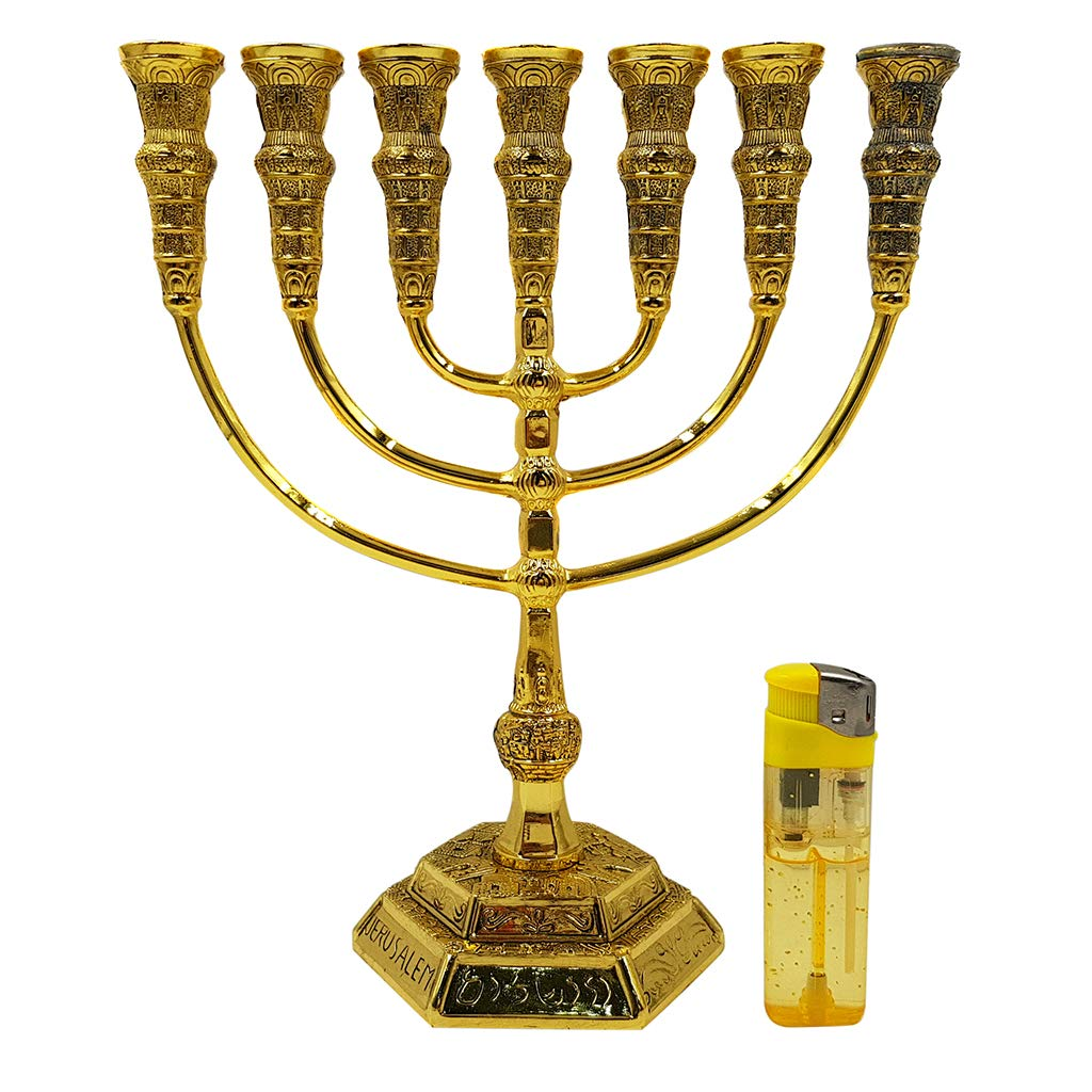 Talisman4U Jerusalem 7 Branch TEMPLE MENORAH 12 Tribes Of Israel Antique Gold Plated Candles Holder Height 9 Inch / 22 cm by Talisman4U (Image #2)