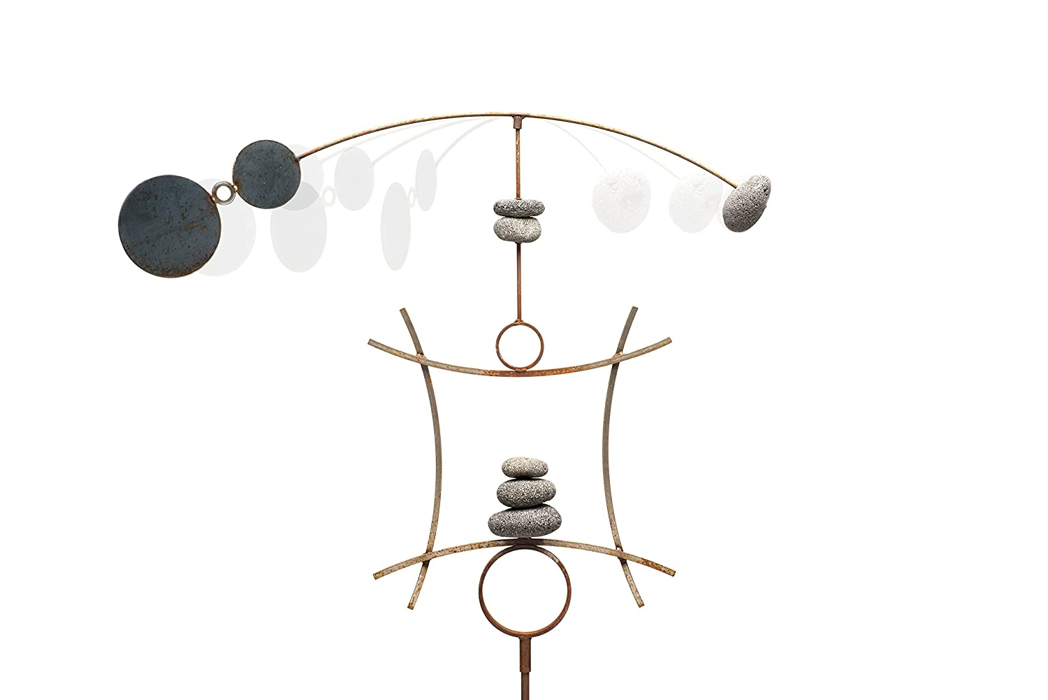 Zen Garden Spinner Kinetic Wind Sculpture   Balanced Arch Yard Decor With Rock Cairn And Stake   Relaxing Metal Art Wind Vane   Large   Handmade In The USA