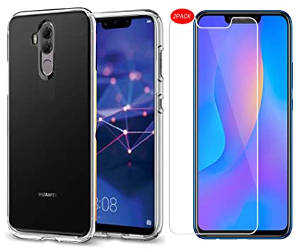 buy popular 7eb76 dc762 Huawei Mate 20 Lite Case and Screen Protector,[3 in 1]MYLBOO Transparent  Soft TPU Phone Case + [2 PACK]9H Tempered Glass Screen Protector [HD Ultra]  ...