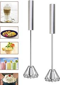 Indian Craft idea Egg Whisk, Newness Stainless Steel 30.40 cm Hand Push Whisk Blender - Versatile Tool for Egg Beater, Milk Frother, Rotating Push Mixer, Stirring, Kitchen Utensil